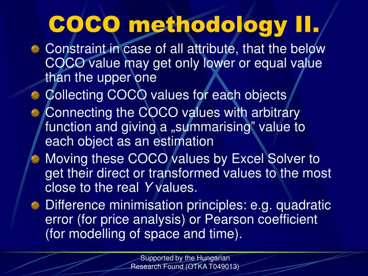 COCO methodology II.