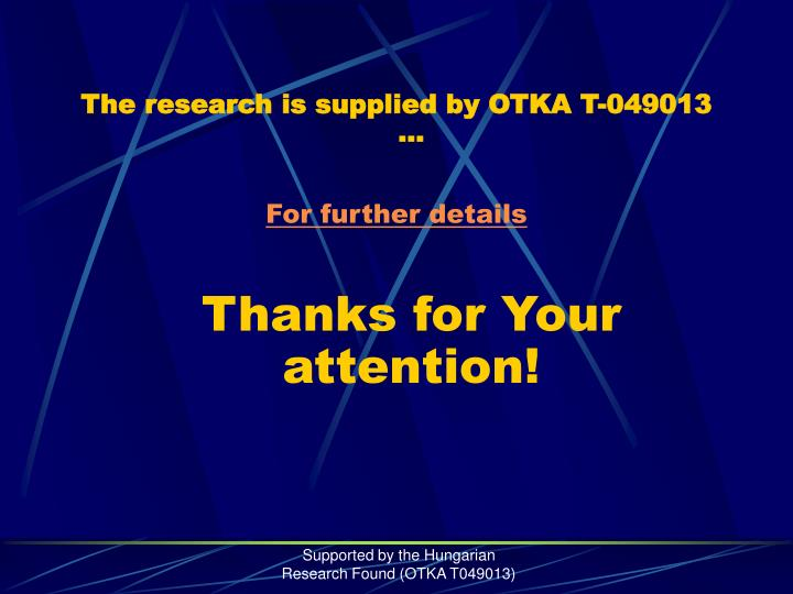 The research is supplied by OTKA T-049013 …