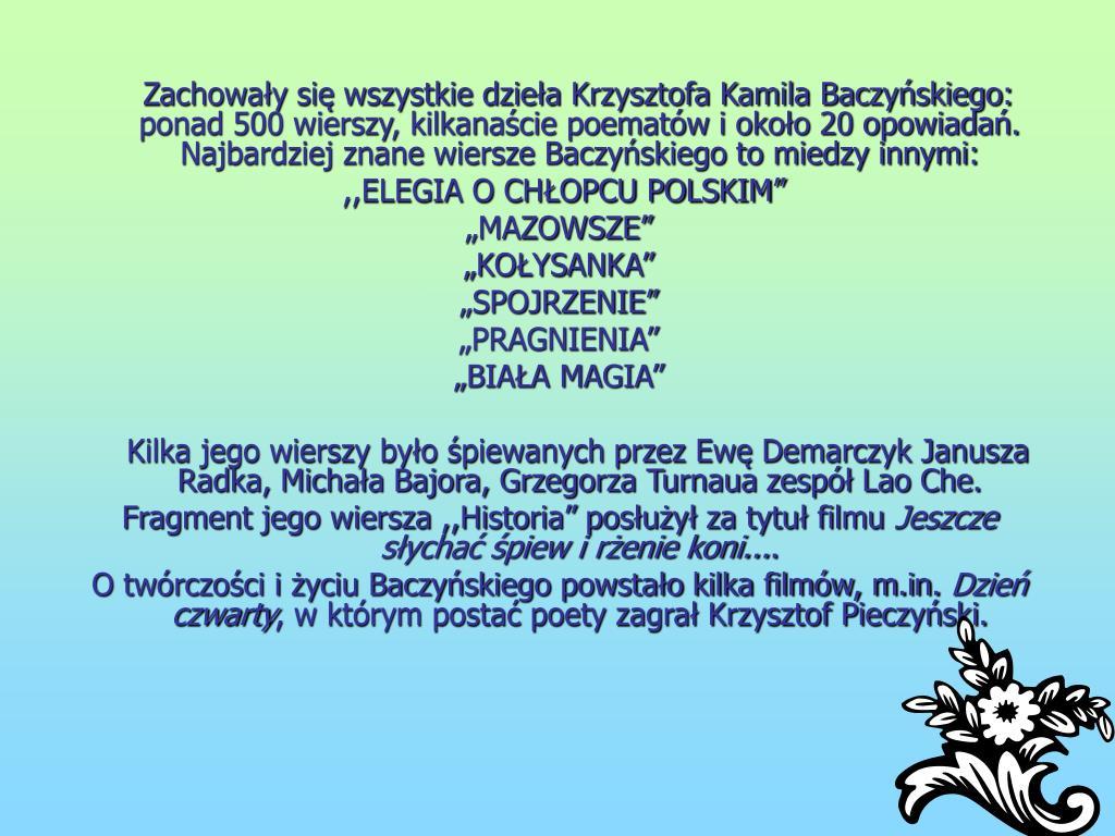 Ppt Krzysztof Kamil Baczyński Powerpoint Presentation