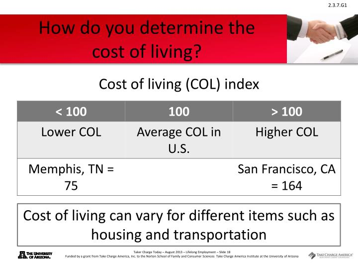How do you determine the      cost of living?
