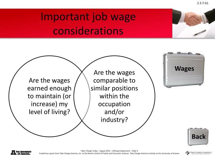 Important job wage considerations