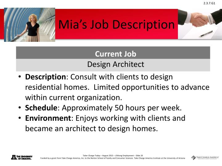 Mia's Job Description