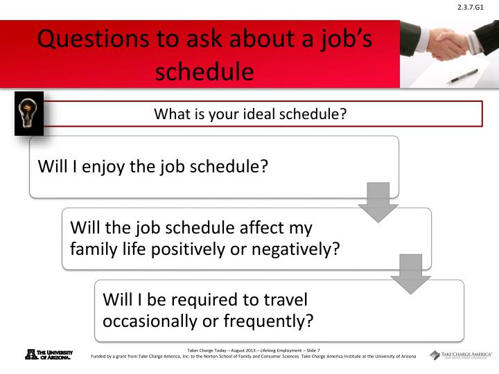 Questions to ask about a job's schedule