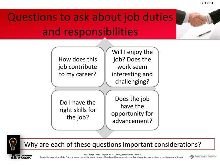 Questions to ask about job duties and responsibilities