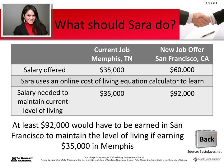 What should Sara do?