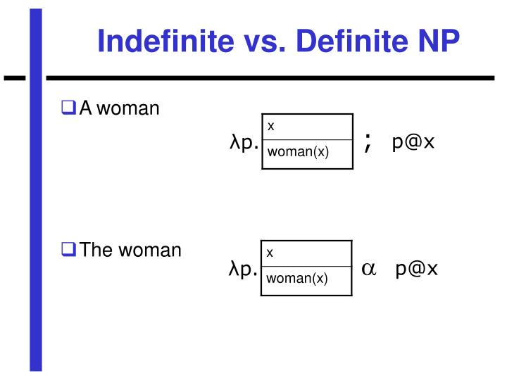 Indefinite vs. Definite NP