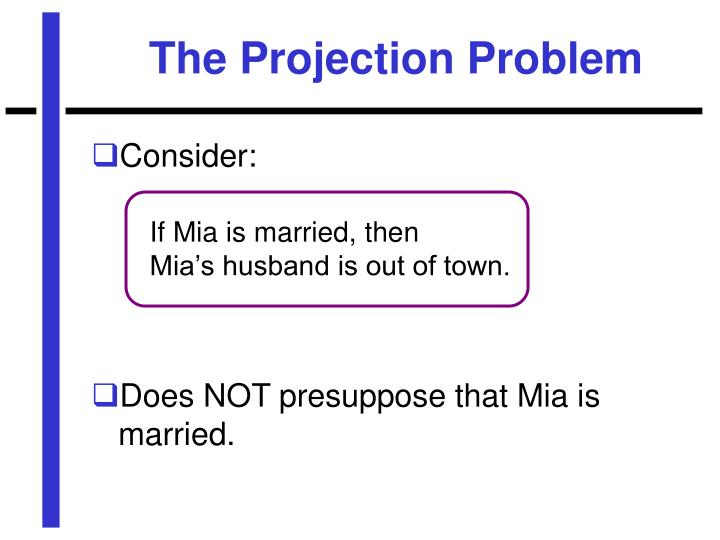 The Projection Problem