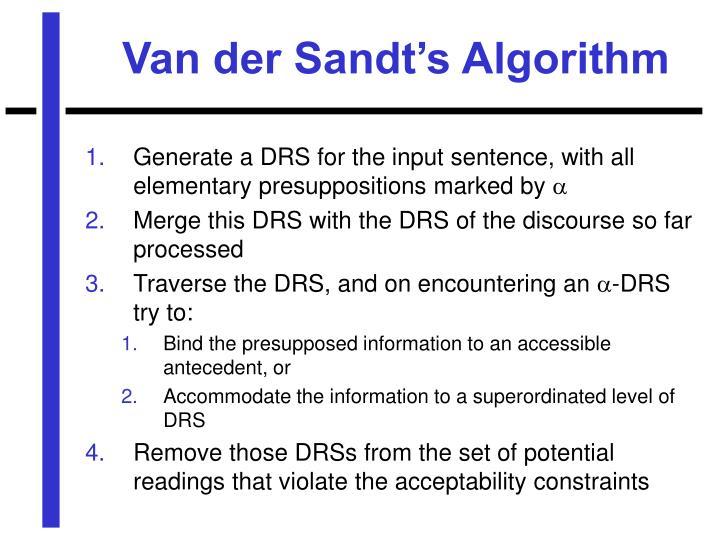 Van der Sandt's Algorithm