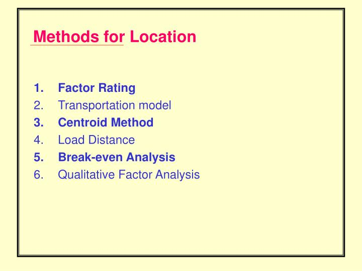 Methods for Location