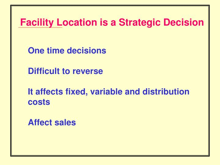 Facility Location is a Strategic Decision