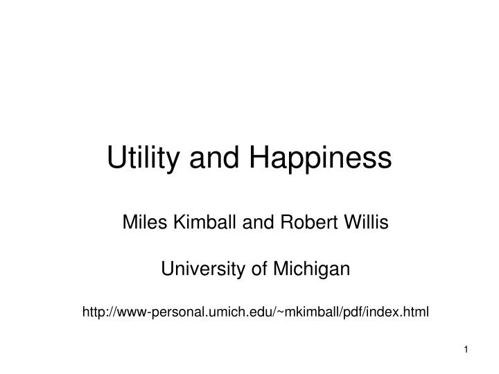 utility and happiness n.