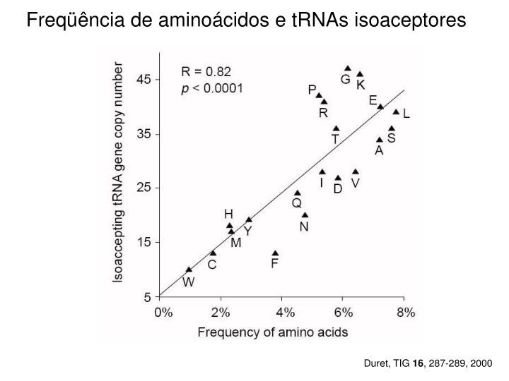 Freqüência de aminoácidos e tRNAs isoaceptores