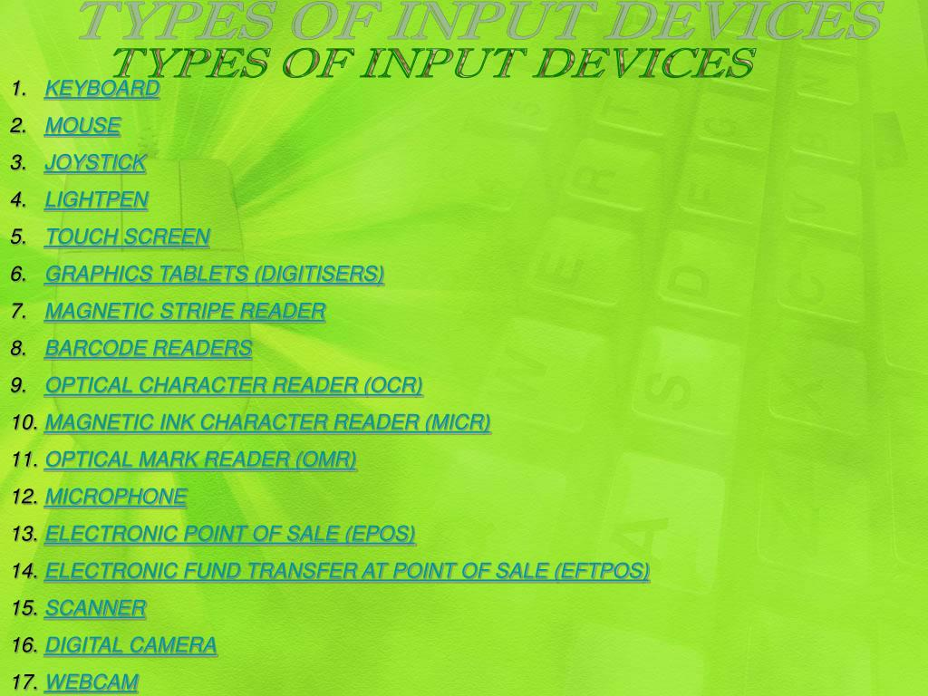 PPT - Input and output devices PowerPoint Presentation - ID
