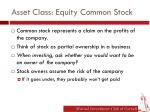 asset class equity common stock