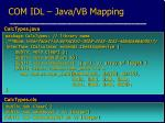 com idl java vb mapping