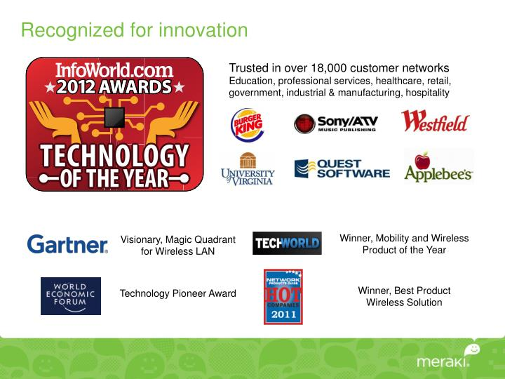 Recognized for innovation