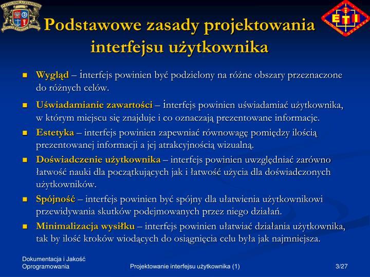 Podstawowe zasady projektowania interfejsu u ytkownika