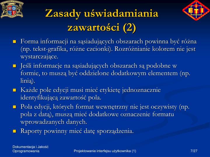 Zasady uświadamiania zawartości (2)