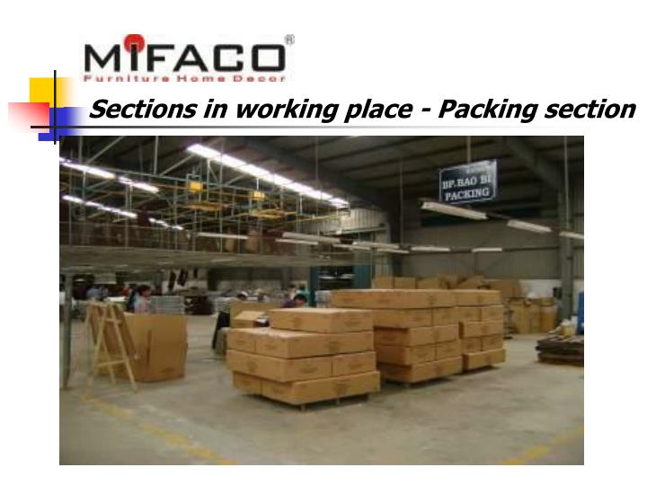 Sections in working place - Packing section