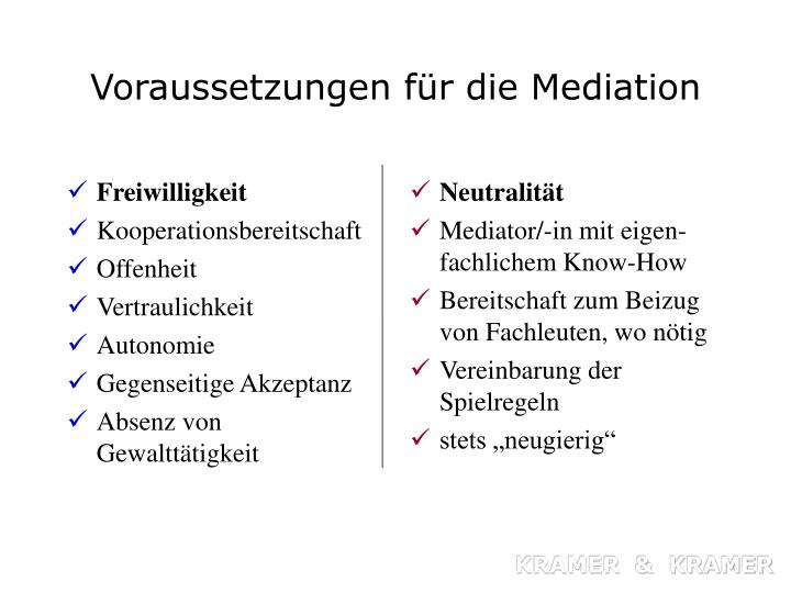 Voraussetzungen f r die mediation