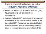 entrepreneurial initiatives in india industry academia interface