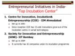 entrepreneurial initiatives in india top incubation center
