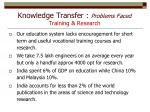 knowledge transfer problems faced training research1