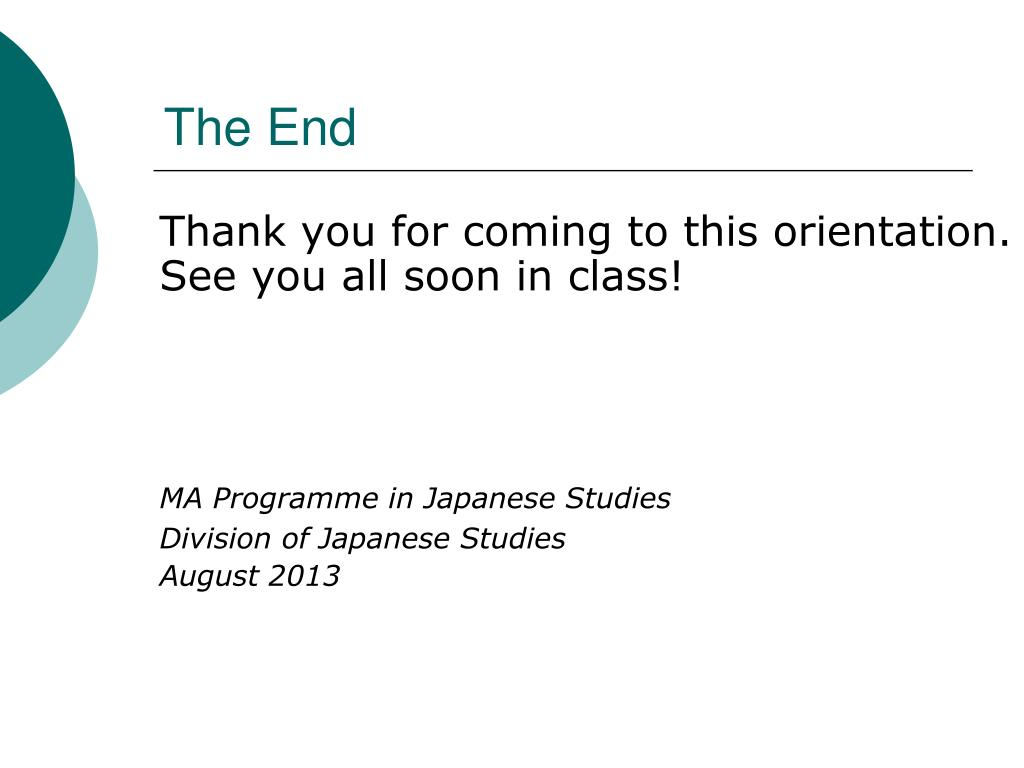 PPT - Orientation MA Programme in Japanese Studies