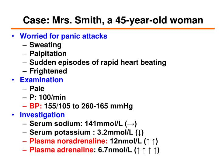 Case: Mrs. Smith, a 45-year-old woman