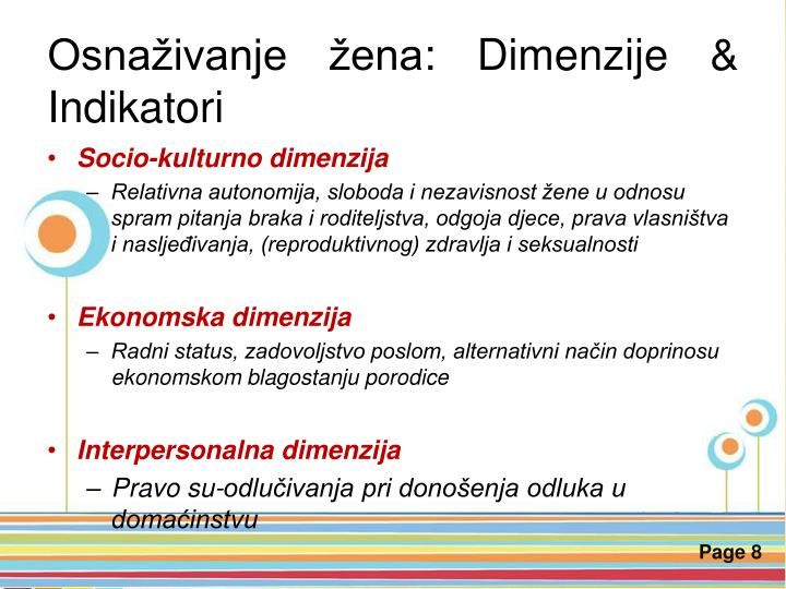 Osnaživanje žena: Dimenzije & Indikatori