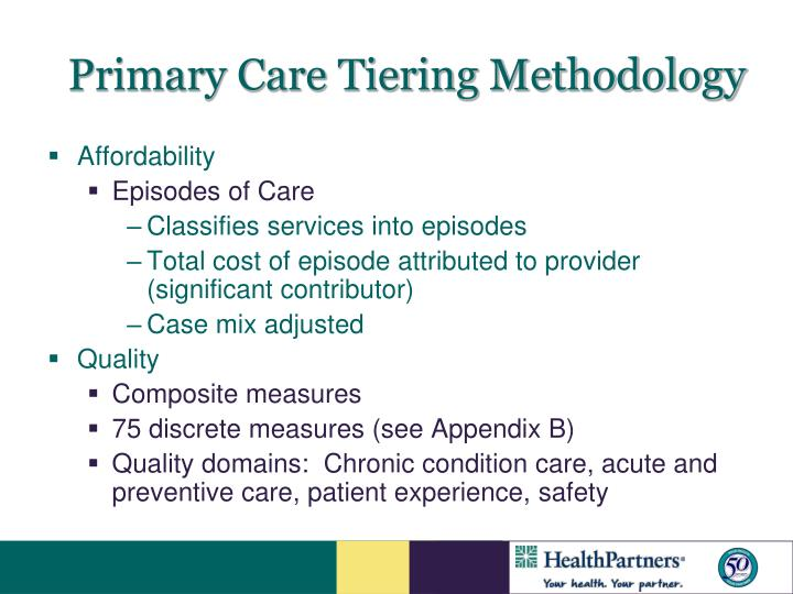 Primary Care Tiering Methodology