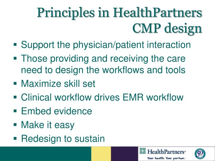 Principles in HealthPartners CMP design