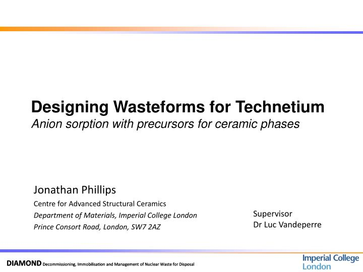 designing wasteforms for technetium anion sorption with precursors for ceramic phases n.