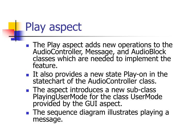 Play aspect