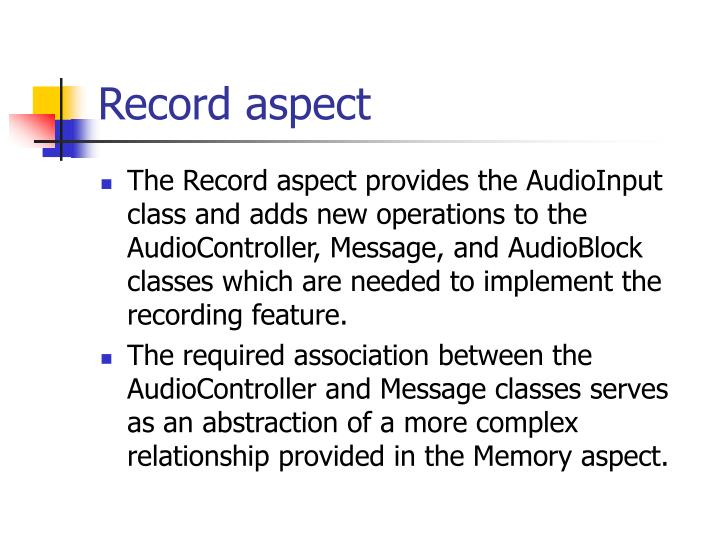 Record aspect