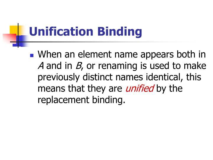 Unification Binding