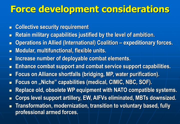 """multinational capabilities and considerations military The us army on the feasibility of adopting a """"niche capabilities"""" approach to  multinational  rating mfc considerations and requirements in army-wide tech."""