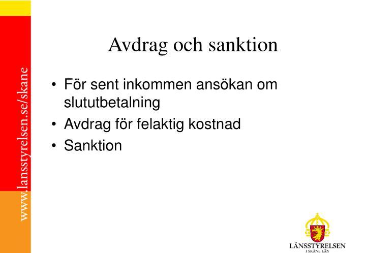Avdrag och sanktion
