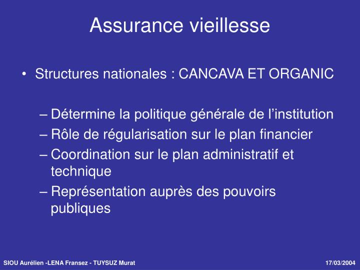 Structures nationales : CANCAVA ET ORGANIC