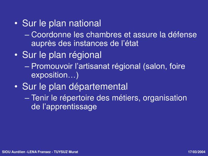 Sur le plan national