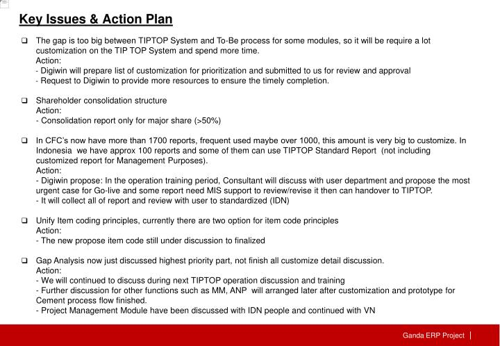 Key Issues & Action Plan
