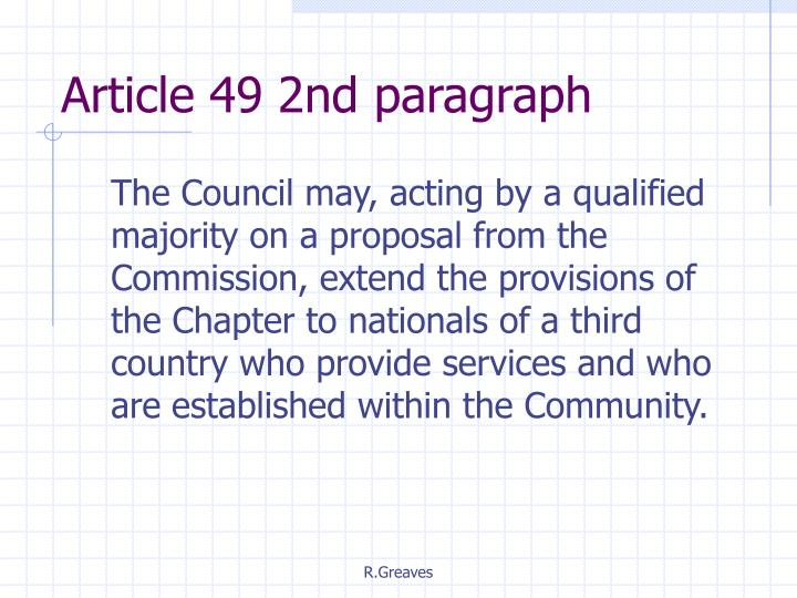 Article 49 2nd paragraph