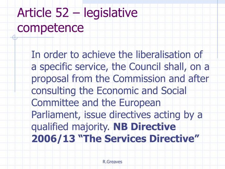 Article 52 – legislative competence