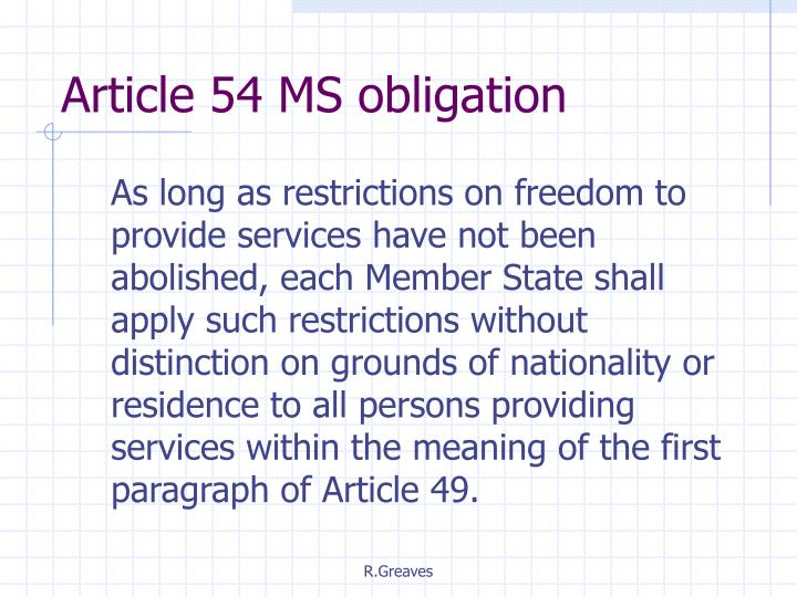 Article 54 MS obligation
