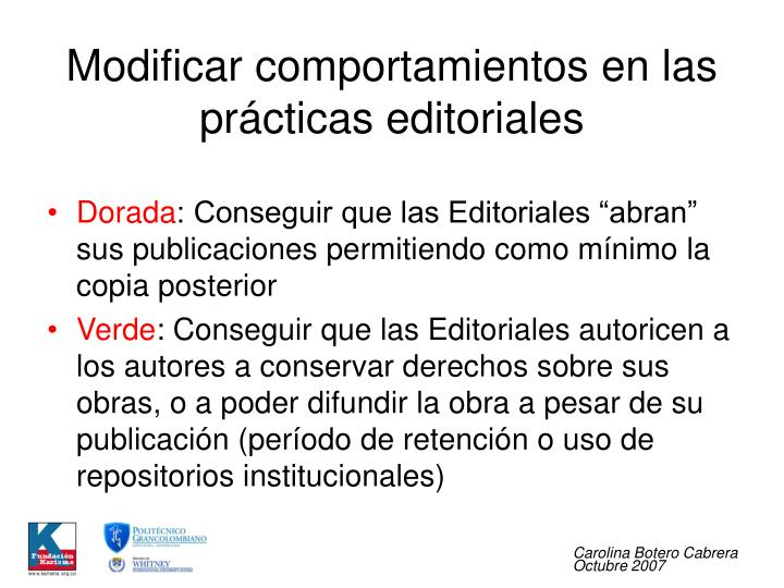 Modificar comportamientos en las prácticas editoriales
