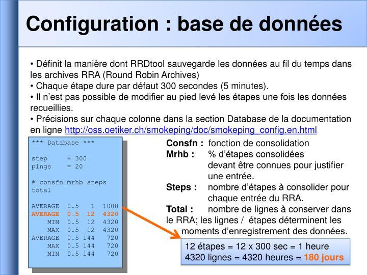 Configuration : base de données