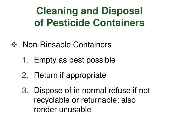 Cleaning and Disposal
