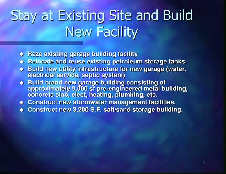 Stay at Existing Site and Build New Facility