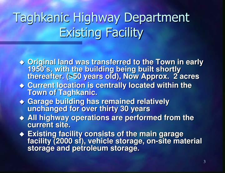 Taghkanic highway department existing facility
