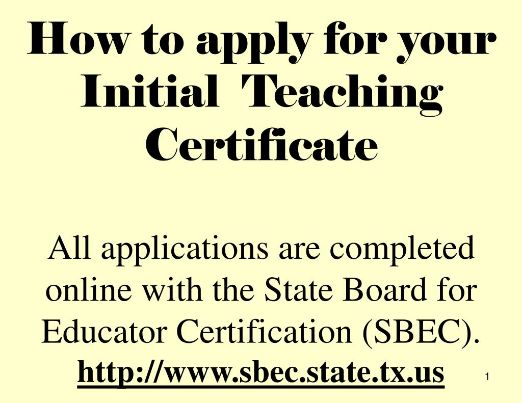 Ppt Go To The Sbec Website Sbecatetx Click On Sbec Online For